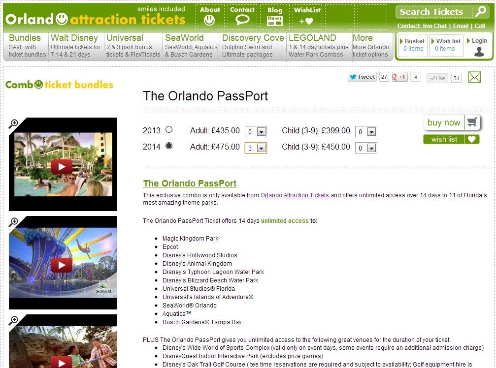 Orlando Attraction Tickets
