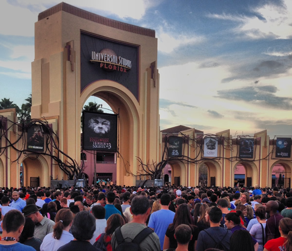 hhn entrance as the sun sets in the beautiful orlando sky something terrible starts to emerge at street level suddenly universal studios is not such a