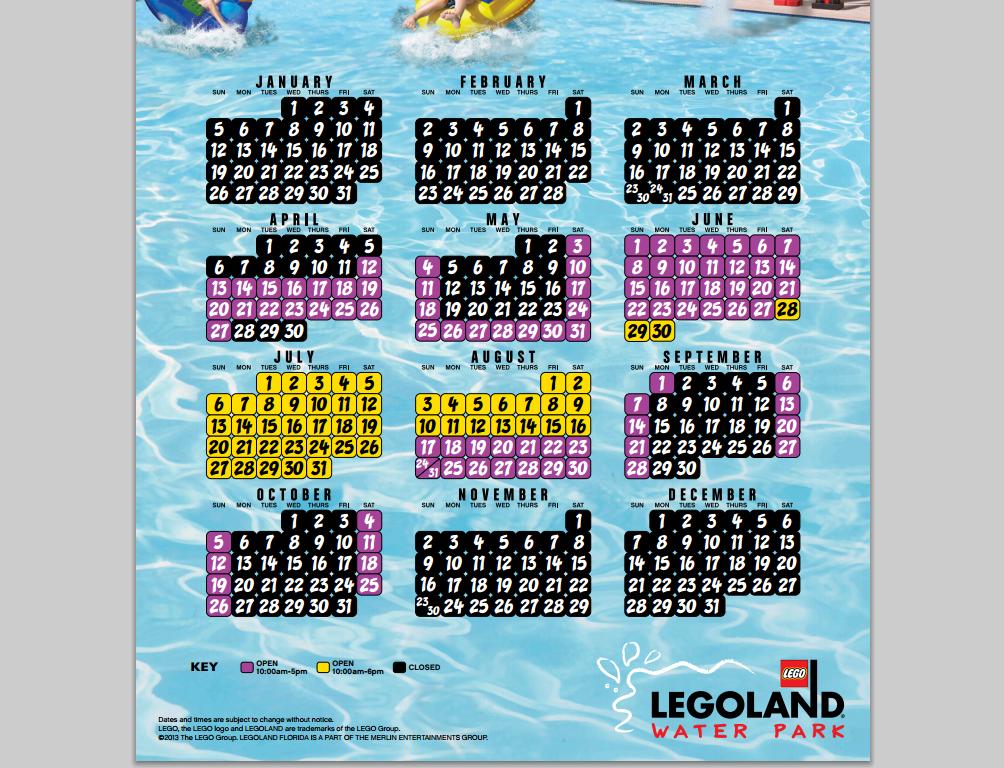 legoland 2014 water schedule